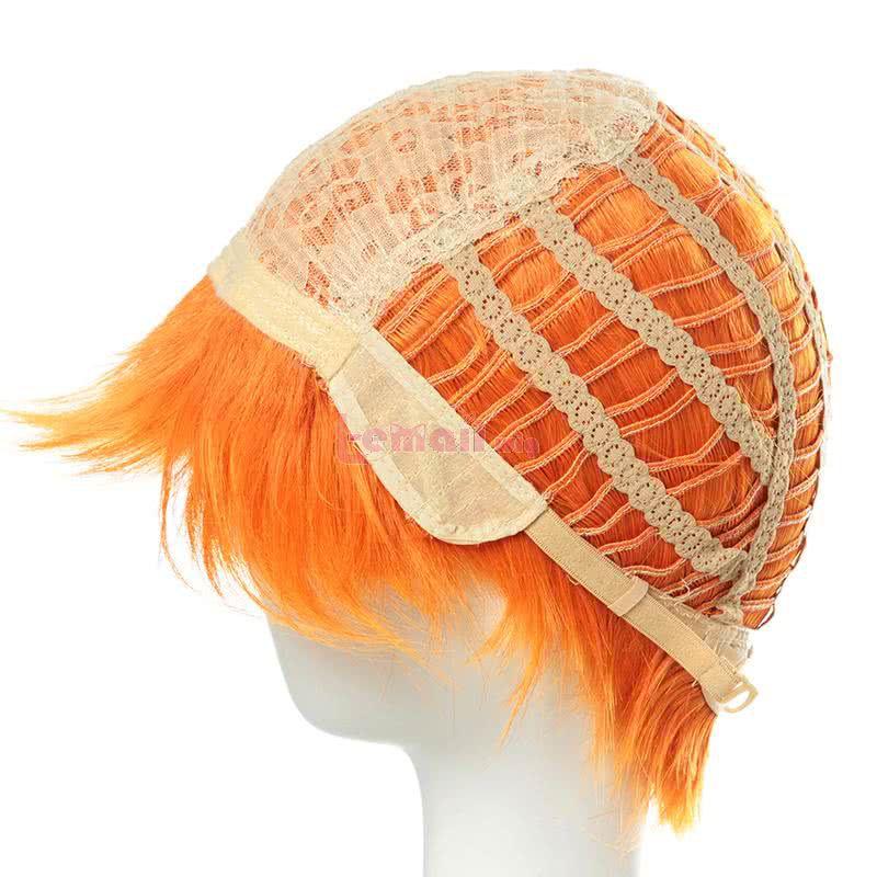 Haikyuu!! Shōyō Hinata Anime Bright Orange Short Synthetic Straight Styled Cosplay Wigs