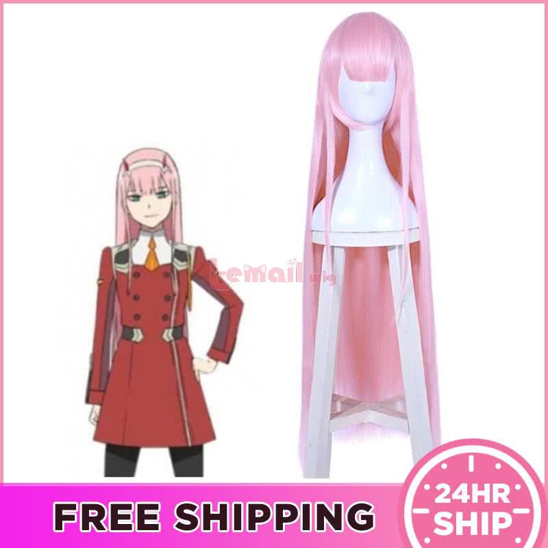Anime DARLING in the FRANXX Zerotwo 02 Long Pink Straight Cosplay Wigs