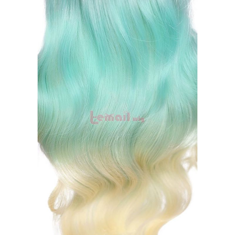 Anime High Rise Invasion Kuon Shinzaki Long Curly Green Gradient Women Cosplay Wigs