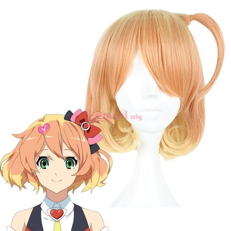 Anime Macross Delta Freyja Wion Short Curly Mixed Yellow Cosplay Wigs