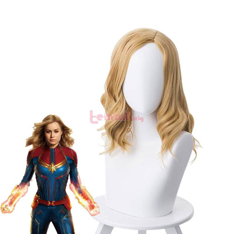 Anime Captain Marvel Carol Danvers Curly Golden Brown Cosplay Wigs