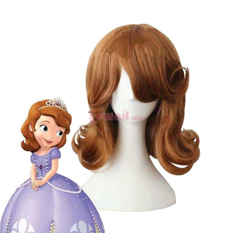 Anime Sofia the First Sofia Long Curly Brown Cosplay Wigs