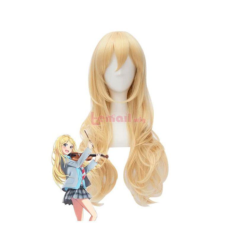 Anime Your Lie in April Kaori Miyazono Blonde Curly Long Cosplay Wigs