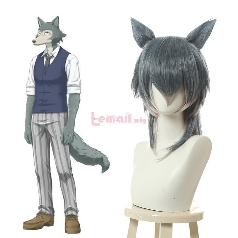Beastars Legoshi Mixed Color Straight Cosplay Wigs With Ears