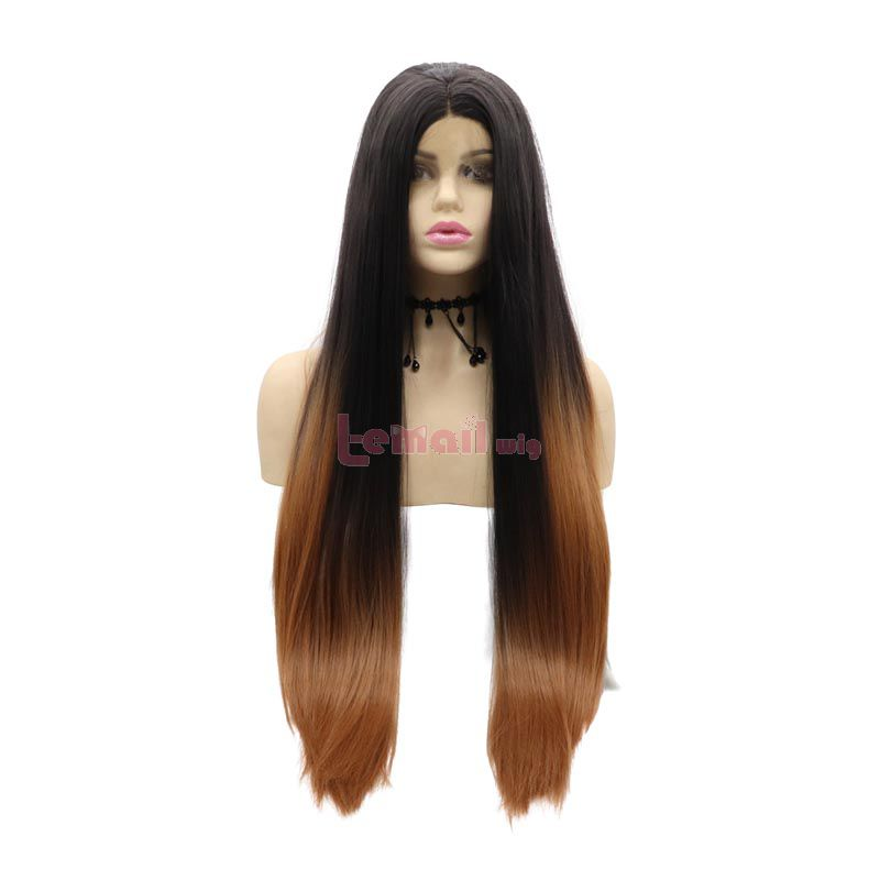 Fashion Long Straight Hair Black Gradient Brown Lace Front Cosplay Wigs