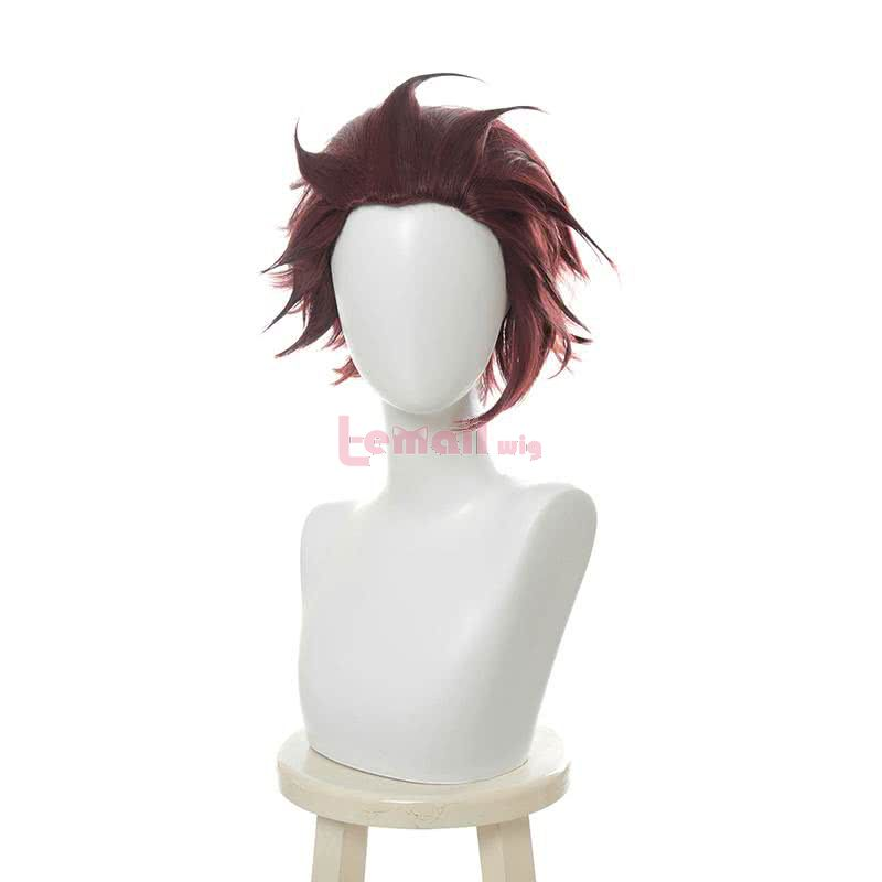 Blade of Demon / Kimetsu no Yaiba Tanjirou Kamado Short Wine Red Men Cosplay Wigs