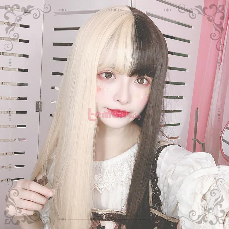 Blonde and Black Lolita Wig 60cm Long Straight Cosplay Wigs with Bangs