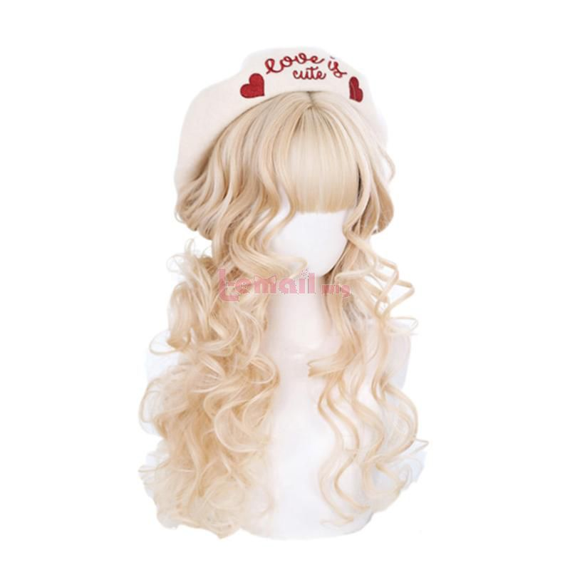 Blonde Chocolate Cosplay Wigs Long Curly Lolita Wigs with Bangs