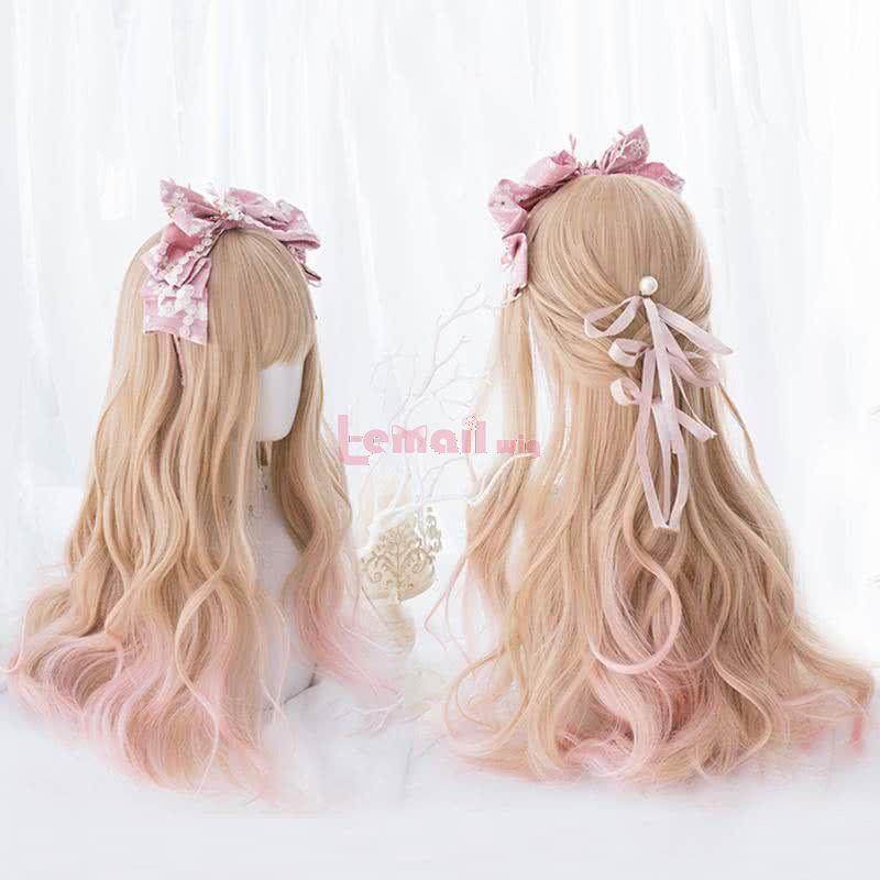 Blonde Gradient Pink Harajuku Lolita Fluffy Mixed Blonde Fashion Wigs
