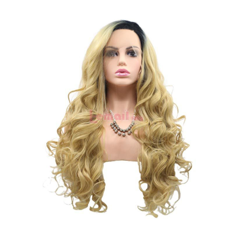 Fashion Long Curly Hair Gradient Blonde Lace Front Cosplay Wigs