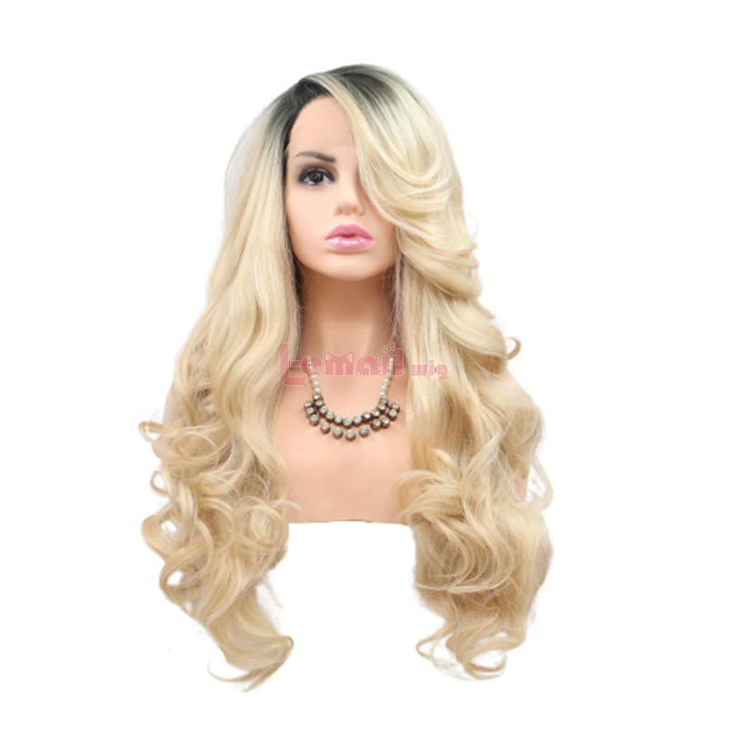 Fashion Long Curly Hair Gradient Blonde Lace Cosplay Wigs