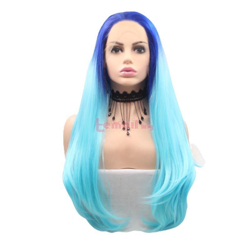 Fashion Long Straight Hair Gradient blue Lace Front Cosplay Wigs