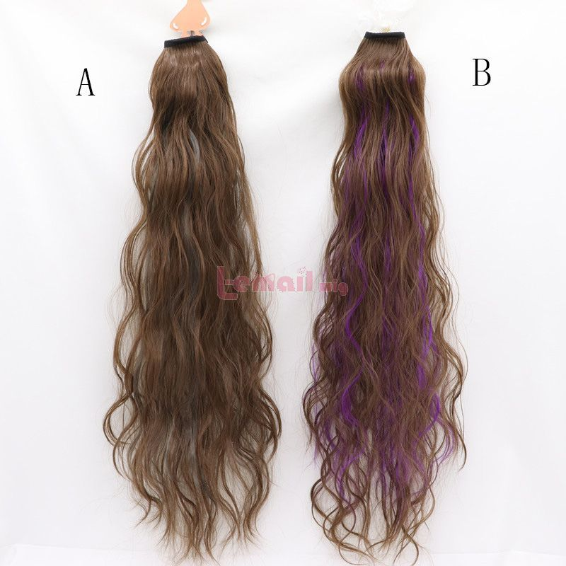 Fashion Long Curly Hair Brown Ponytail Cosplay Wigs