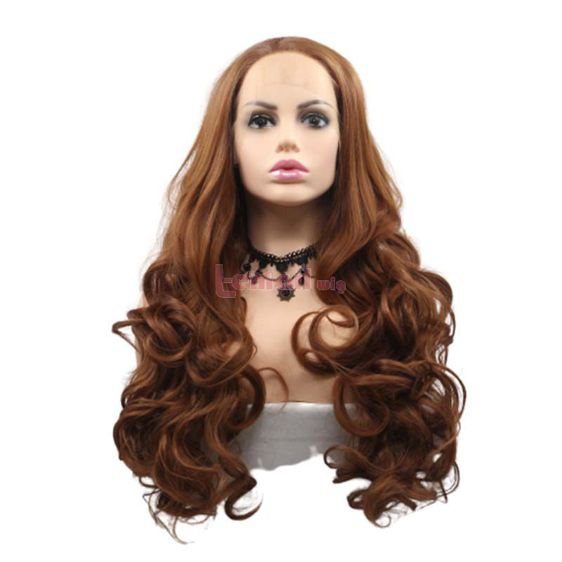 Fashion Long Curly Hair Brown Lace Front Cosplay Wigs