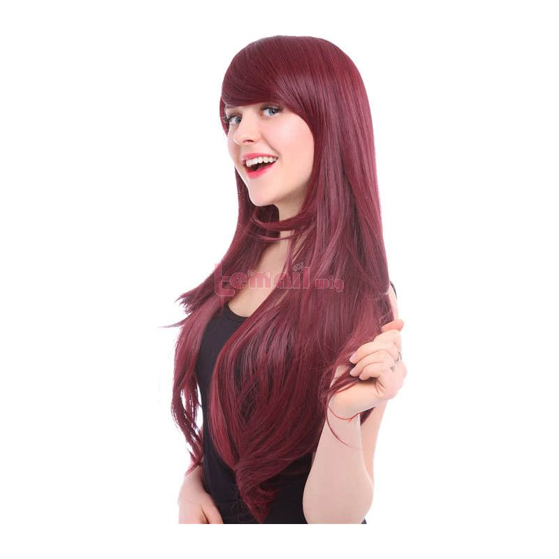 80CM Beautiful Long Curly Wine Red Charms Fashion Wig