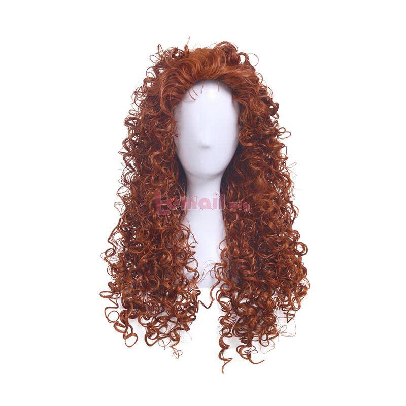 Movie Brave Merida Brown Medium Long Curly Wavy Cosplay Wig