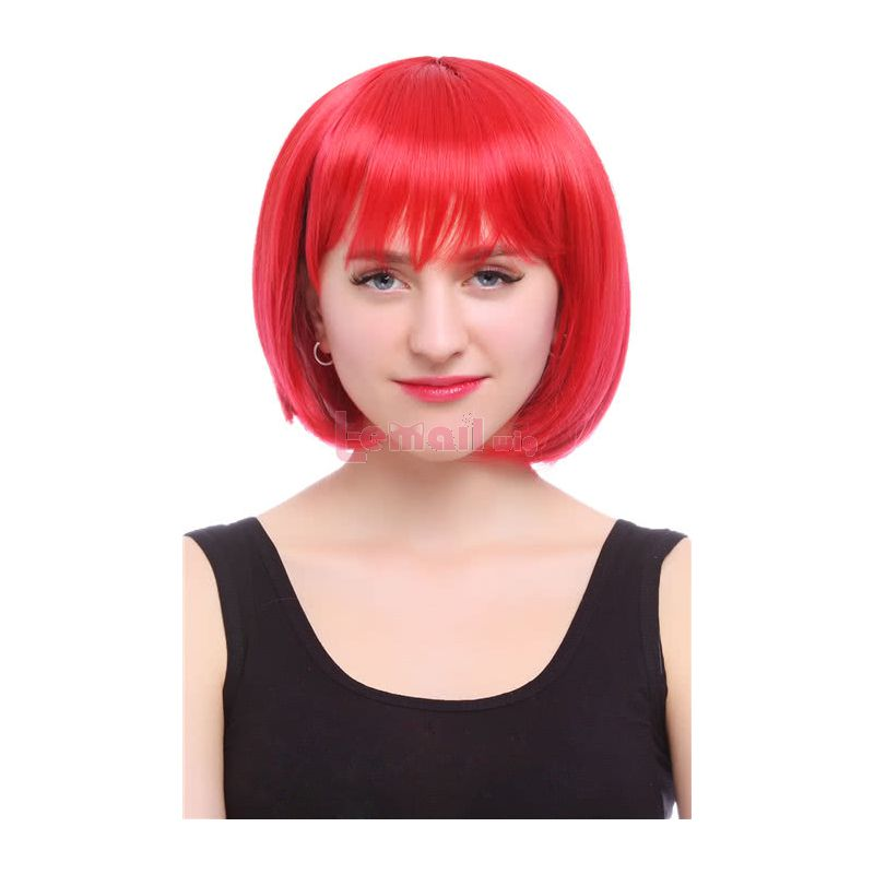 35cm Short Straight Zipper Red Bob Cosplay Party Wig