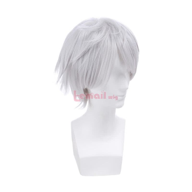 Tsukiuta Animation Shimotsuki Shun Short Anime Wigs Soft White Synthetic Cosplay Wigs