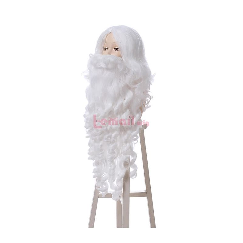 Christmas Day Santa Claus white beard Cosplay Wigs