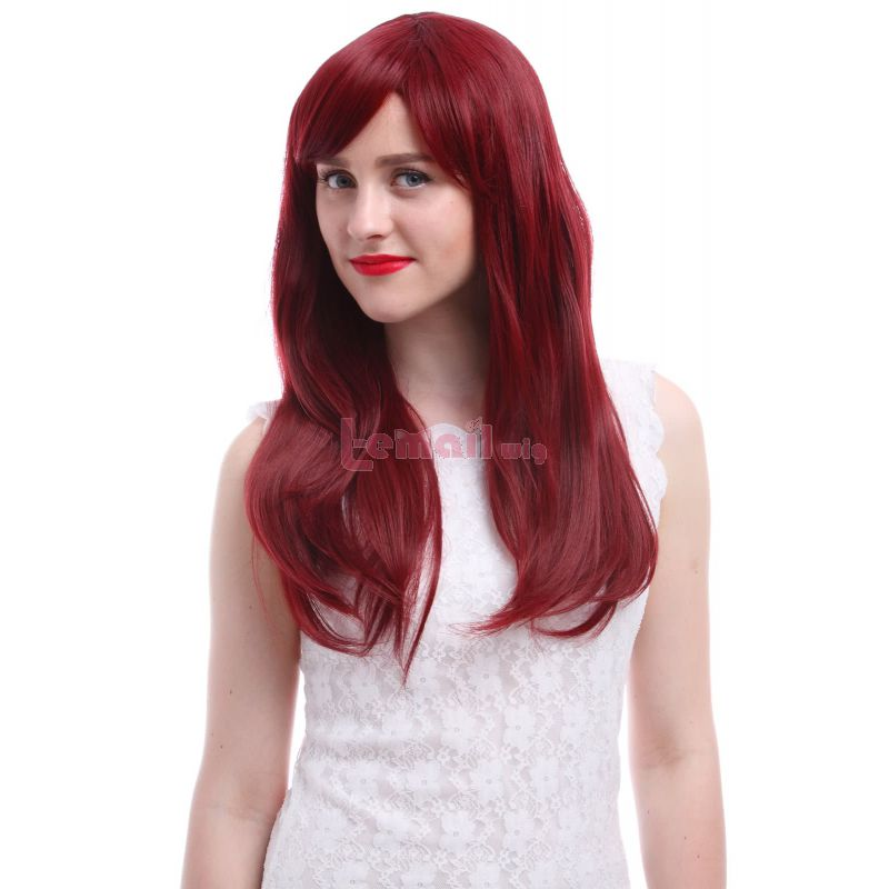Women 65cm Long Wine Red Sapphire Anime Synthetic Hair Straight Cosplay Wigs