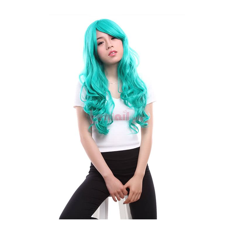 Long Dark Turquoise Anime Curly Wavy Cosplay Wigs
