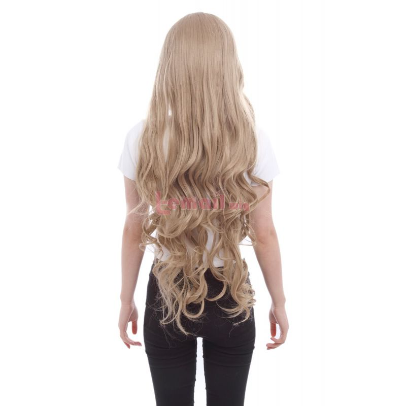 Women Long Curly Wavy Synthetic Hair Sweet Girl Light Brown Cosplay Wigs