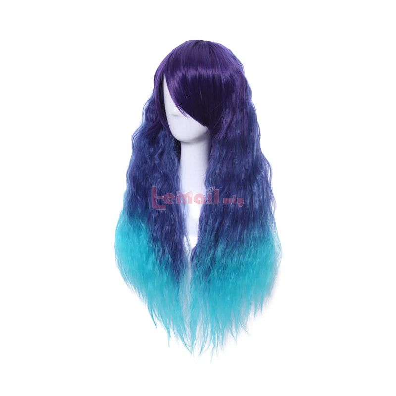Long Rhapsody Mixed Colour Blue Fade Curly Wave Cosplay Wig