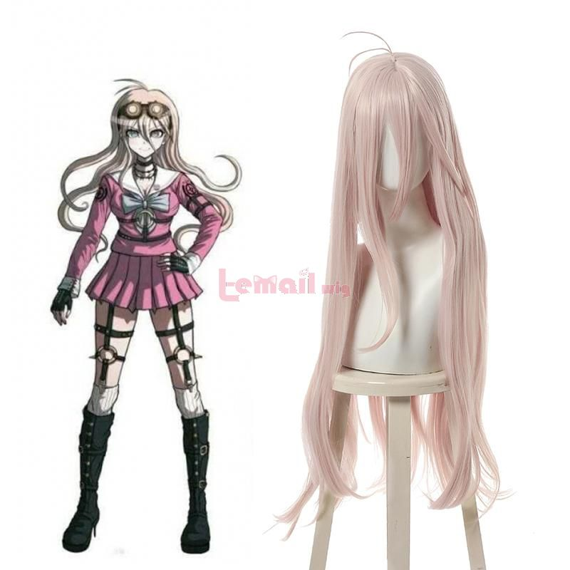 Danganronpa V3 Killing Harmony Iruma Miu 80cm Long Straight Pink Cosplay Wigs