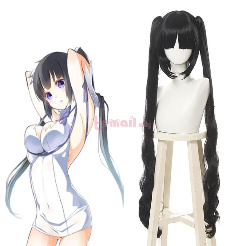 DanmachiIs It Wrong to Try to Pick Up Girls in a Dungeon Hestia Long Black Curly Ponytail Cosplay Wigs