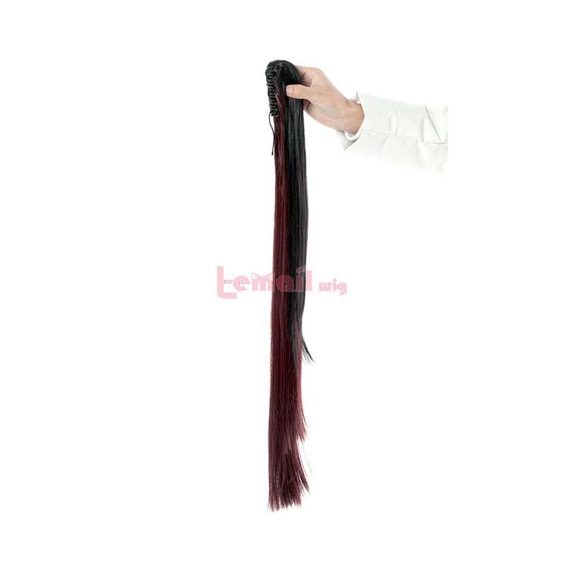 Date A Live Tokisaki Kurumi Long Straight Ponytails Black Mixed Dark Red Cosplay Wigs