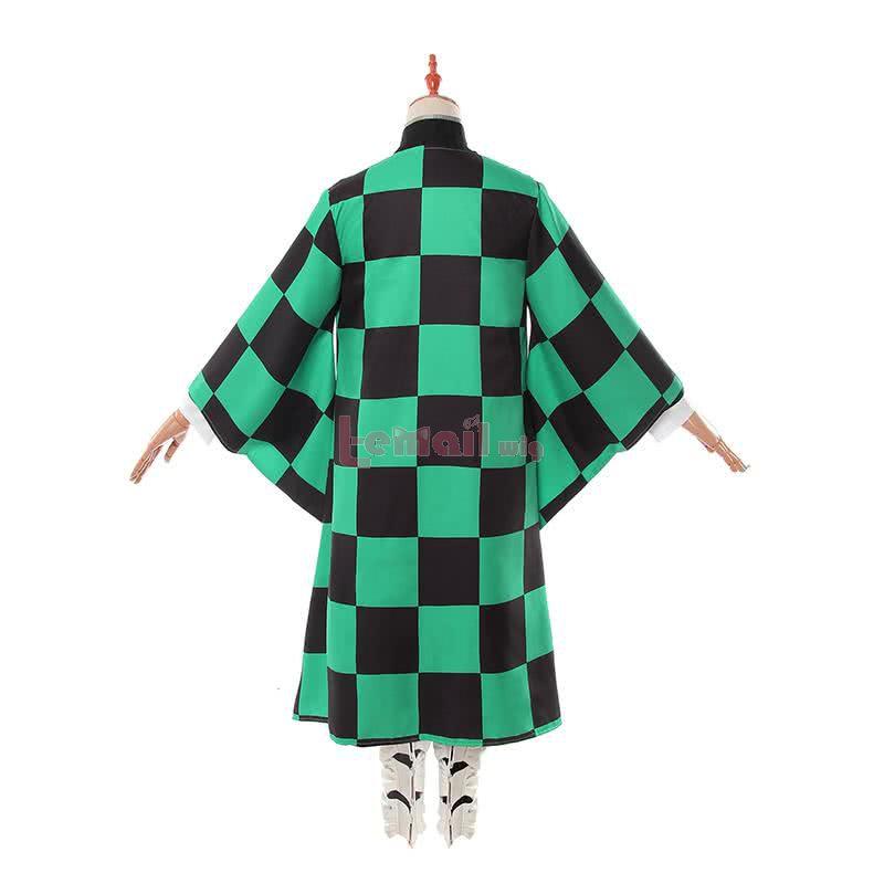Demon Slayer: Kimetsu no Yaiba Kamado Tanjirou Green Black Check Kimono Cosplay Costume