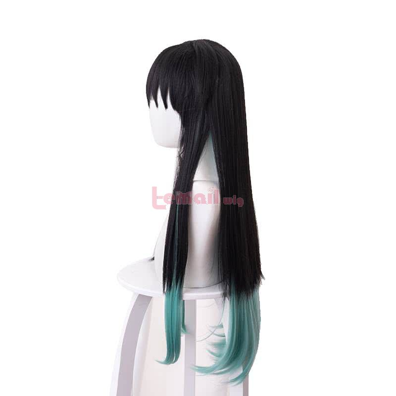 Demon Slayer / Kimetsu no Yaiba Tokitou Muichirou Long Straight Black Gradient Color Cosplay Wigs