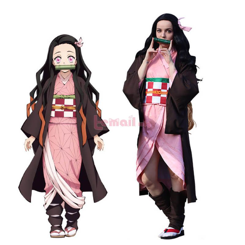 Demon Slayer Nezuko Kamado Fullset Kimono Cosplay Costumes
