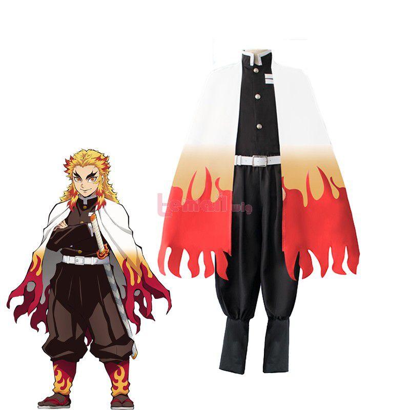 Demon Slayer Rengoku Kyoujurou Fullset Uniform Cosplay Costume