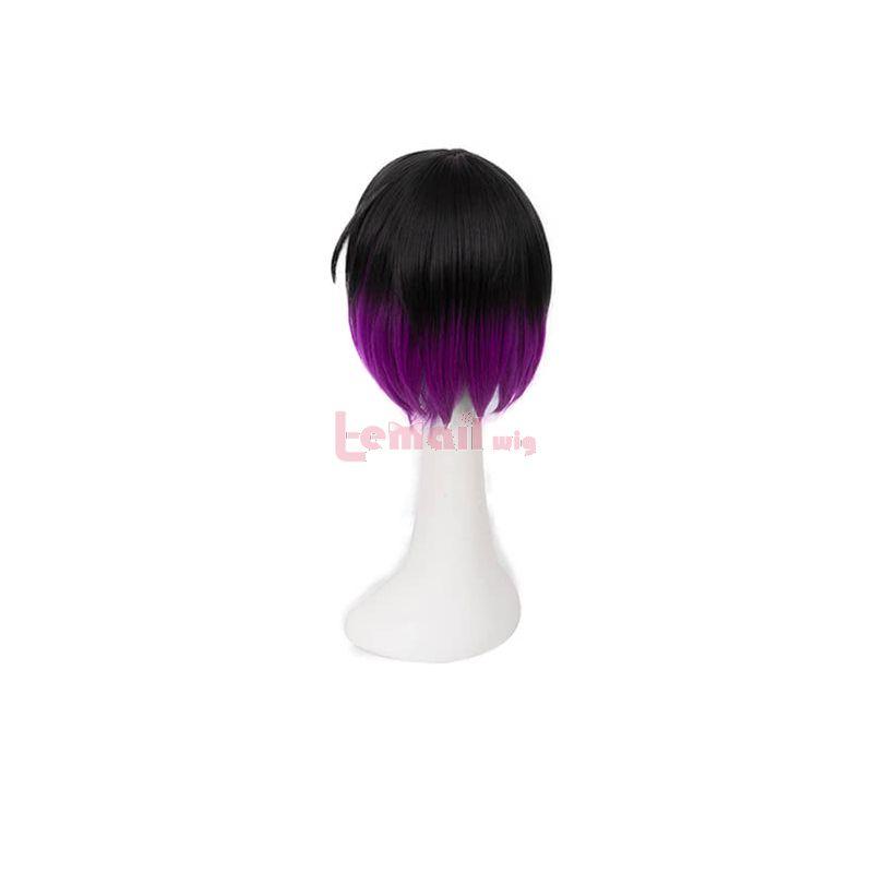 Miss Kobayashi's Dragon Elma Black Mixed Purple Short Synthetic Cosplay Wigs