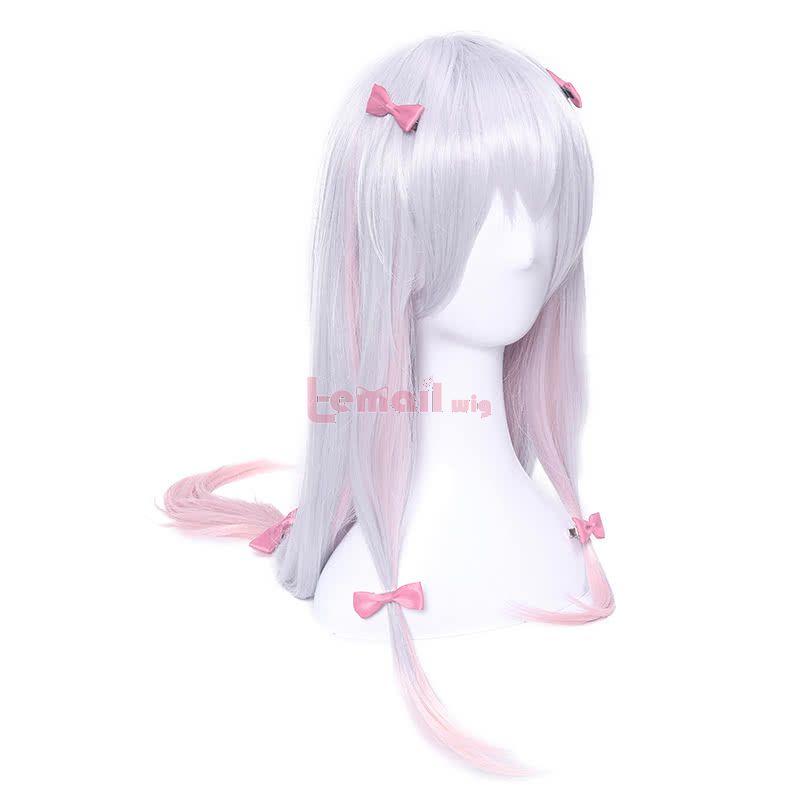 Eromanga Sensei Izumi Sagiri Long Silver Mixed Pink Anime Cosplay Girls Wigs