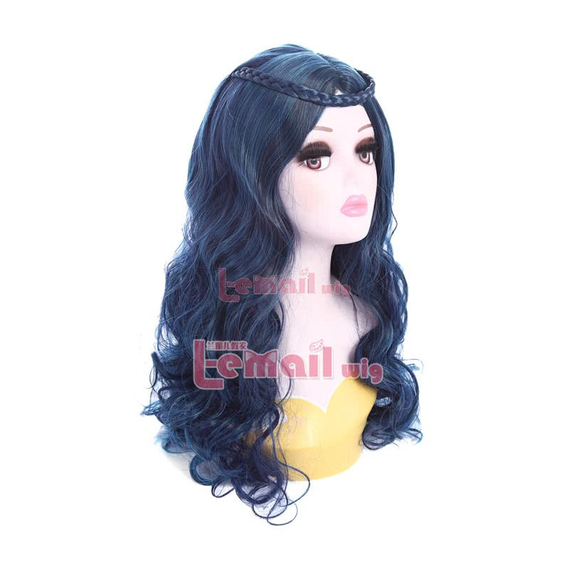Descendants Evie Long Curly Dark Blue Synthetic Hair Mixed Color Cosplay Party Wigs