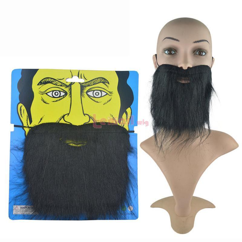 L-email Wig Black False Beards