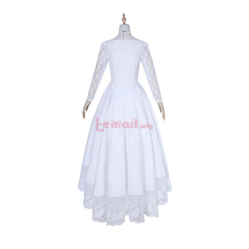 Fashion European Women Long Dress White Lace Costumes