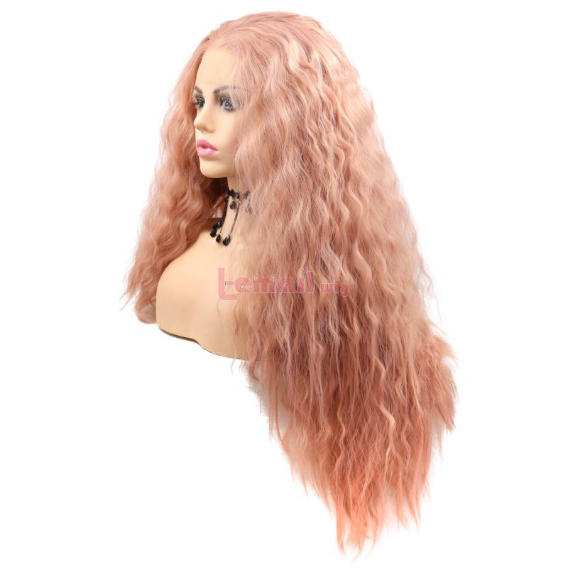 Fashion Long Big Wave Hair Rose Golden Lace Front Wigs Cosplay Wigs