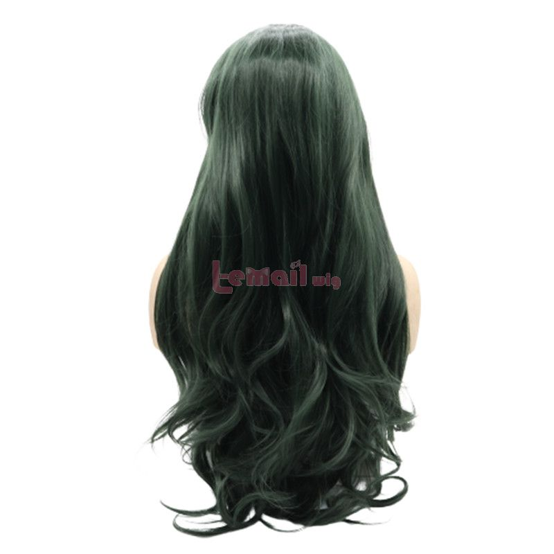 Fashion Long Curly Hair Dark Green Lace Front Wigs Cosplay Wigs