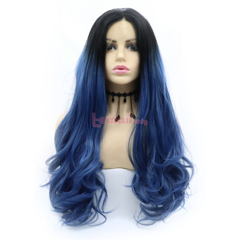 Fashion Long Curly Hair Gradient Blue Lace Front Wigs Cosplay Wigs
