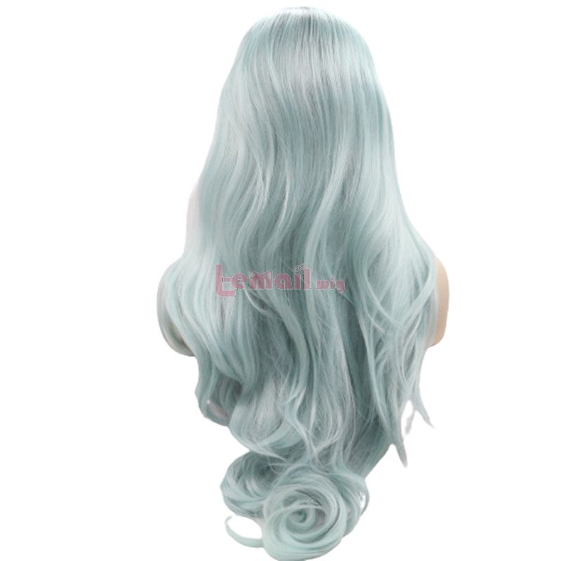 Fashion Long Curly Hair Lake Blue Lace Front Wigs Cosplay Wigs