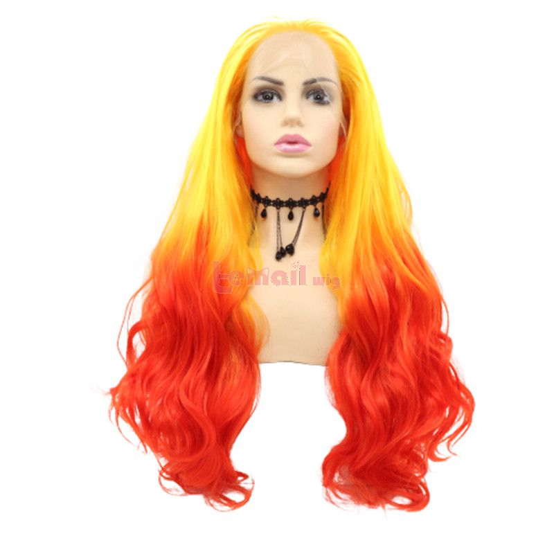 Fashion Long Straight Hair Yellow Red Lace Front Wigs Cosplay Wigs