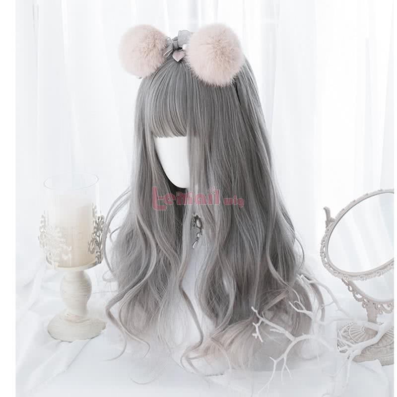 Fashion Long Grey Lolita Wigs Women Curly Hair Wig