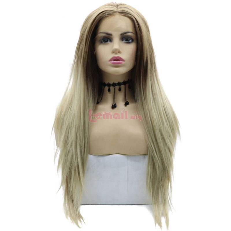 Fashion Long Straight Hair Cream Coloured Lace Front Wigs Cosplay Wigs