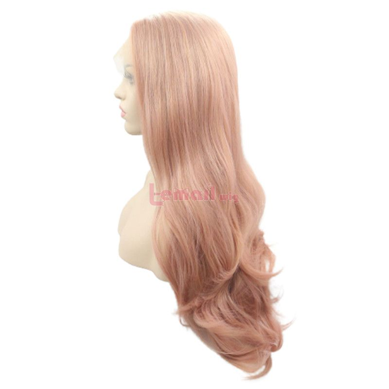 Fashion Long Curly Hair Pink Rose Gold Lace Front Wigs Cosplay Wigs