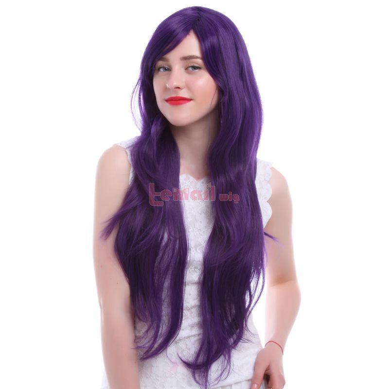 Fashion Women 80cm Long Straight Purple Cosplay Hair Wig