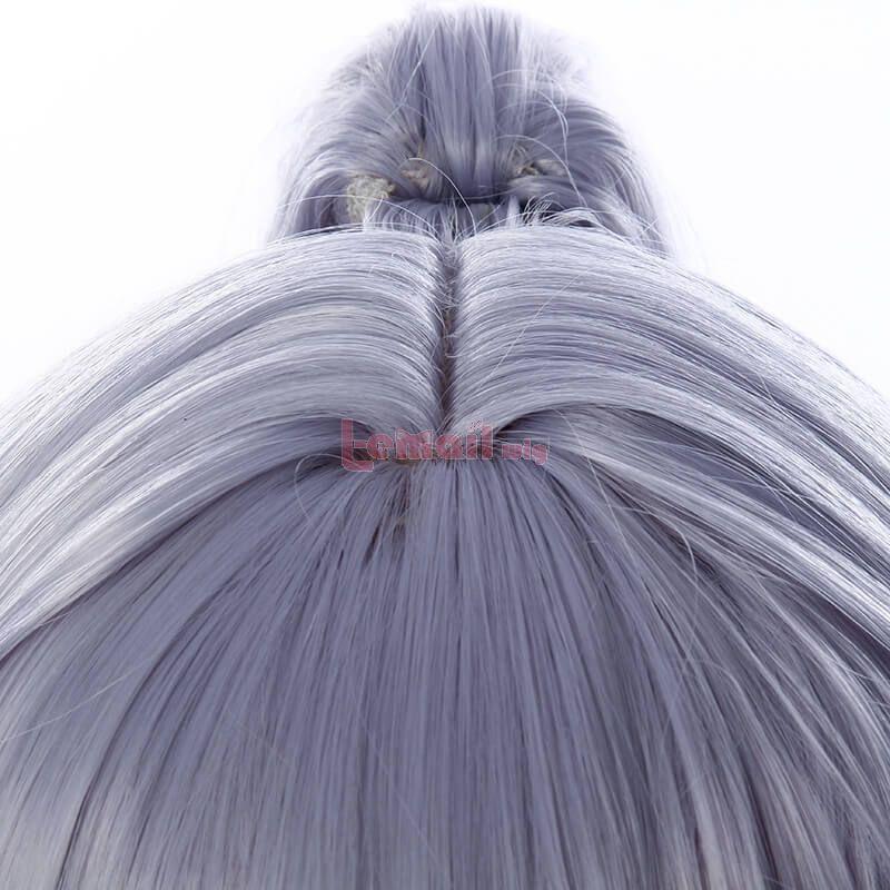 FGO Tomoe Gozen Long Grey Purple Ponytail Cosplay Wigs