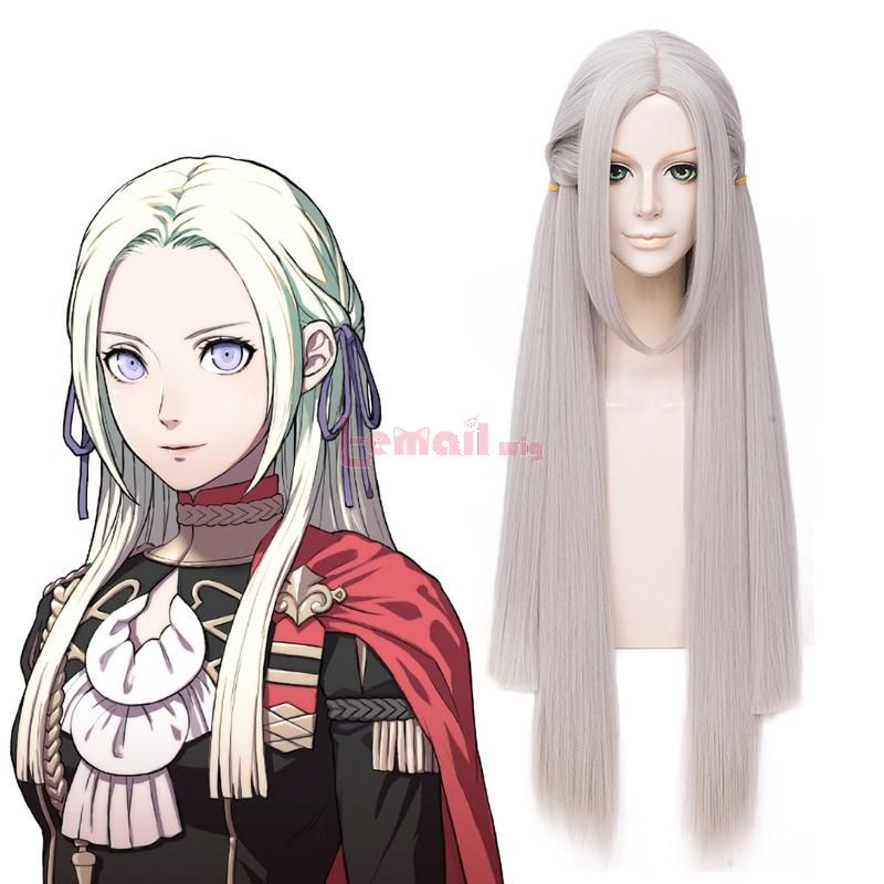 Fire Emblem: ThreeHouses Edelgard Long Straight Grey Cosplay Wigs